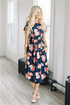 Navy Roses Pocket Dress, Modest Dress Bridesmaids Dress, best modest boutique, cute modest clothes, modest dresses, best online modest boutique, floral dresses, modest dresses for church, modest skirts, buy modest clothes online