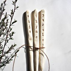 plant marker = porcelain spike (hand-rolled in an antique hanky) + hand-stamped word + stain