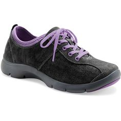 Dansko Elise in Black and Purple Suede at www.shoemill.com/dansko . This is NEW series from Dansko. Lightweight soles, flexible feel, and great arch support. Very Healthy!
