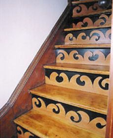 Use a stencil and then paint the banister black. Stairs And Doors, Doors And Floors, Take The Stairs, Painted Staircases, Painted Stairs, Painted Floors, Stair Steps, Stair Treads, Stair Rugs