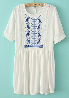 White Embroidery Zipper Hollow-out Short Sleeve Chiffon Dress via cichic.com