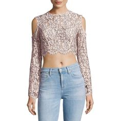 Keepsake Adorn Lace Cold Shoulder Top ($100) ❤ liked on Polyvore featuring tops, open shoulder long sleeve top, cold shoulder tops, long sleeve lace top, blue cold shoulder top and long sleeve cold shoulder tops