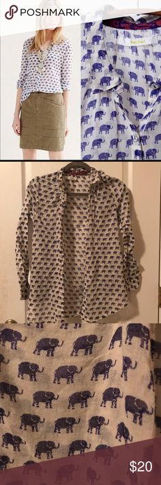 Hei hei button up Very cute elephant print! Only worn a few times. 100% cotton. From a non smoking home. Anthropologie Tops Button Down Shirts
