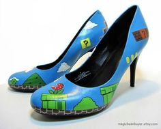 68befa34995889 Female gamers and geeks at heart will love this Custom Hand-Painted Super  Mario Heels. From color to the Super Mario art to the not