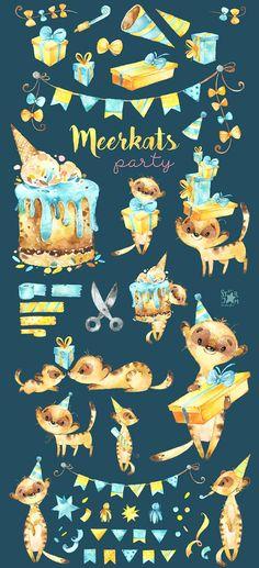 Meerkats. Party. Watercolor animals clipart little meerkats