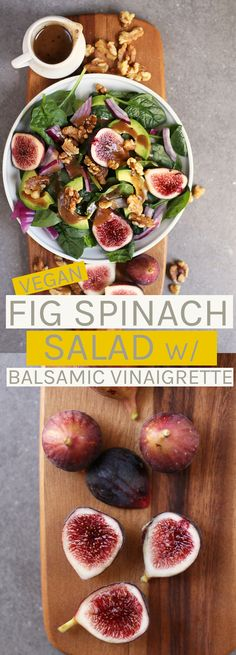 This Spinach Fig Salad is made with fresh figs, avocado, toasted walnuts, and homemade balsamic vinaigrette for a delicious fall salad that will fill you up. Healthy Salad Recipes, Whole Food Recipes, Vegan Recipes, Gluten Free Recipes, Figs Breakfast, Figs Benefits, Fig Appetizer, Fig Salad, Avocado Salat