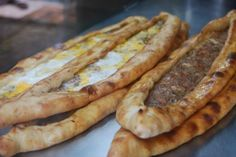 "Turkish Food: Meat/Cheese Flat Bread or Turkish Pizza ""Pide""."
