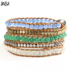 JINSE Top Quality 5 Strands Opal Stone Beads Leather Bracelet Beaded Leather Bracelet Vintage Leather Jewelry for Gift WPB152