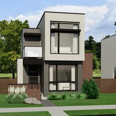 The Contemporary small home plan is a bright, spacious plan … Contemporary House Plans, Modern House Plans, Small House Plans, Two Storey House Plans, Townhouse Exterior, Sims 4 House Plans, House Construction Plan, Casas The Sims 4, Unique House Design
