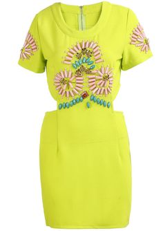 Neon Green Short Sleeve Midriff Bodycon Dress pictures