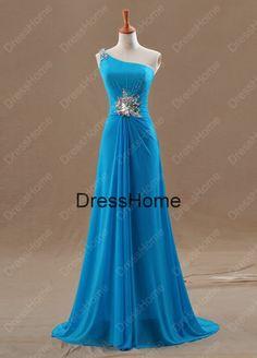 Une seule épaule robe de soirée bleu avec perler / robe avec dos aéré de soirée pas cher / robe de bal / robe de bal à Long / Blue Prom robes sur Etsy, 135,20€