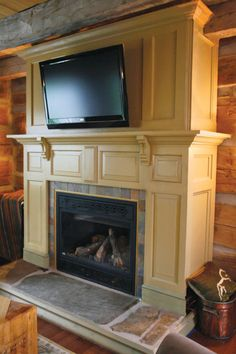OHJ readers Mal and Greg Hotte made this fireplace surround out of salvaged doors. (Photo: Rod MacIvor/Ottowa Citizen)