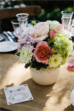 beautiful florals and table numbers