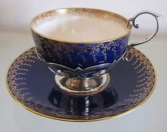 1908 ANTIQUE MINTONS Tea Cup & Saucer with Sterling Silver Holder & Handle=RARE!