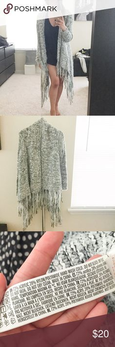 Super Soft Oversize Fringe Cardigan. Worn once. In excellent condition. Only selling to make room in my closet. Super soft and cozy. Purchased in a large for more length and for more of an oversized look. I typically wear an XS/S for size reference. I feel like this fits sizes XS- M best. No trades. No PayPal. Forever 21 Sweaters Cardigans