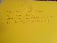Granddaughter's rules for her brother when they were about 6 & 9 respectively! Simple!