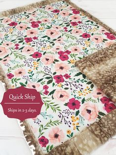 Summer Blanket /… Pink Floral Cotton Baby Blanket Personalized Baby blanket Farmhouse Baby Blanket Baby shower gift Watercolor floral Baby Blanket