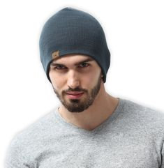 Daily Knit Beanie by Tough Headwear - Stretchy & Soft Beanie Hats for Men & Women - Perfect for Old Man Winter - Serious Beanies for Serious Style (Slate Gray)