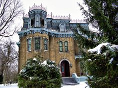 Glanmore House, a Victorian mansion built in 1883 with an elaborate mansard roof. Located in Belleville, Ontario.