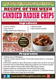 Candied Radish Chips phase one dieter friendly from cindys board! Protein Desserts, Protein Snacks, Protein Diets, High Protein, Protein Power, Ww Recipes, Low Carb Recipes, Healthy Recipes, Protein Recipes