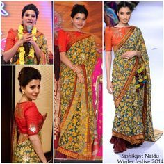 saree with contrast blouse - Google Search