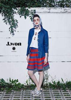 J.WON London SS16 'BonBon' Shirts Back-Bowed 'Lolita' Top Stripe-knitted flared skirt