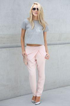look pink pants grey cropped