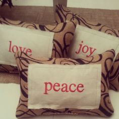 peace, love and joy pillows I finally got around to making with embroidered linen and burlap!
