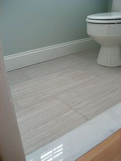 12x24 Florim Stratos Avorio Tile with Marble Threshold | www.involvinghome.com