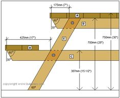 octagonal picnic table project cross-section plan