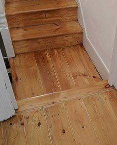 Restored old original wooden flooring. The gaps have been filled with a flexible filler. Refurbished by Fin Wood. Wooden Flooring, Hardwood Floors, Wood Floor Restoration, Repair Floors, Stairs Cladding, Wooden Stairs, The Originals, Landing, Rv