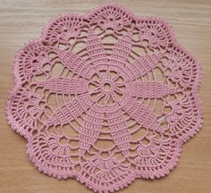 Pink Round Crochet Doily 7 by dona30 on Etsy