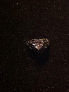 Vintage engagement ring 1K heart pink CZ by CottageBroochBouquet, $28.00 <3