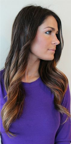 i hate ombre. but if you insist on doing it and you have dark hair...THIS is how its supposed to look. NOT like dipped-bleached nasty orangey-blonde tips!