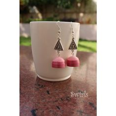 Pink Paper Quilled Jhumkas
