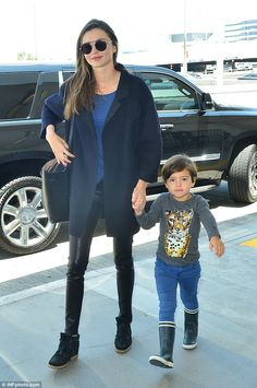 Jetsetters: Miranda Kerr was spotted alongside son Flynn on Saturday arriving at LAX airpo...
