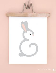 Bunny Ampersand Animal Typographic Art Print by Flutter Flutter Studio via Etsy $15.50