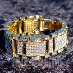 "14k Gold Iced Out Micropave Simulated Lab Diamond Men's Hiphop Bling 8"" Bracelet 