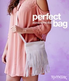 A toss-on-and-go crossbody bag is just the thing for weekend adventures. Go for a style that's fringed and boho, and wear it with sundresses now and chambray shirts in the fall. Find your next favorite handbag at tjmaxx.com.