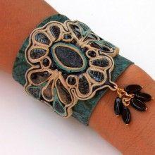 Green Leather Tapestry Bracelet