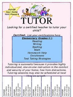 15 cool tutoring flyers 9 tutoring pinterest pto flyers and teacher. Black Bedroom Furniture Sets. Home Design Ideas