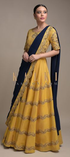 Buy Online from the link below. We ship worldwide (Free Shipping over US$100)  Click Anywhere to Tag Mellow-Yellow-Anarkali-Suit-In-Raw-Silk-With-Attached-Navy-Blue-Drape-Online-Kalki-Fashion Anarkali, Lehenga, Wedding Salwar Kameez, Blue Drapes, Mellow Yellow, Indian Wear, Navy Blue, Sari, Free Shipping