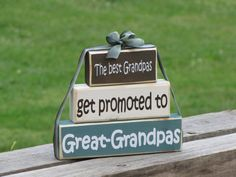 """Gift for Grandparents Day. Block Stack: """"The Best Grandpas Get Promoted to Great-Grandpas"""" - Pregnancy announcement, Grandma, Grandparents"""