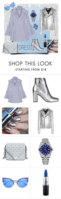 """""""Choker dress with Silver accesories"""" by mariajooo ❤ liked on Polyvore featuring Caroline Constas, Yves Saint Laurent, Alexander Wang, Rolex, Fendi, MAC Cosmetics, Olivia Leone, Blue, Silver and choker"""