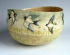 Bowl with Fields Birds ~ by Anna Lambert, English Ceramicist living in Yorkshire . Pottery Bowls, Ceramic Bowls, Ceramic Pottery, Pottery Art, Ceramic Art, Stoneware, Slab Pottery, Thrown Pottery, Pottery Studio