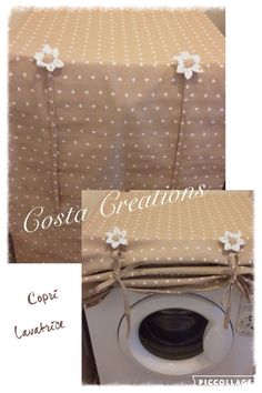 the cover washer in fabric that Home Crafts, Diy Home Decor, Diy And Crafts, Sewing Tutorials, Sewing Projects, Washing Machine Cover, Radiator Cover, Couch Covers, Patchwork Bags