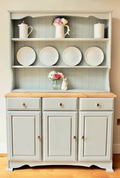 Large Vintage Welsh Dresser - Light Grey - Urbane Grey - Little Greene Paint - Country - Farmhouse - Hand Painted Upcycled Furniture, New Furniture, Furniture Makeover, Painted Furniture, Furniture Ideas, Pine Dresser, Welsh Dresser, Kitchen Dresser, Kitchen Dining
