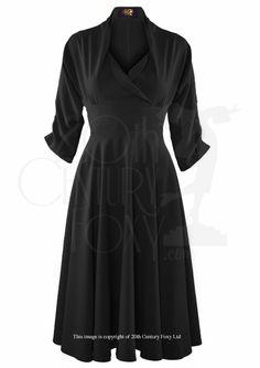 1950s Wrap Circle Swing Dress in Black