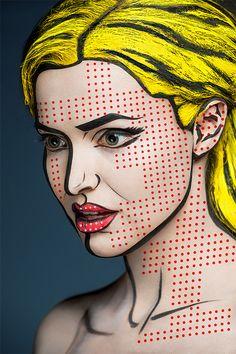 Die russische Künstlerin Valeriya Kutsan verwandelt Models in 2D-Gemälde berühmter Maler - hier Transformation à la Roy Lichtenstein