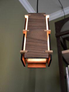 Wooden Pendant Light _Craftsman by LottieandLu on Etsy